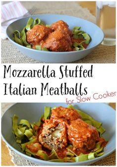 Mozzarella Stuffed Italian Meatballs for Slow Cooker -1 lb lean ground ...