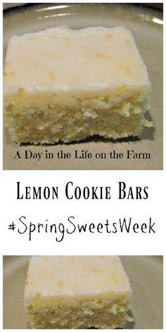 A Day in the Life on the Farm: Lemon Cookie Bars Lemon Dessert Recipes, Cream Pie Recipes, Lemon Recipes, Sweet Recipes, Delicious Desserts, Yummy Food, Cookie Desserts, Cookie Bars, Bar Cookies