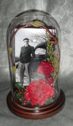 Preserved Memorial flowers in glass dome http://www.facebook.com/FloralKeepsakesBoutique