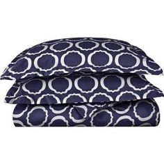 Simple Luxury Scroll Park Cotton Rich 600 Thread Count Duvet Cover Set Color: Navy Blue/White, Size: King/California King