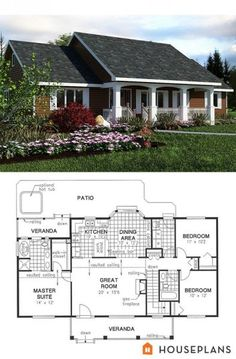 simple country house plan 2 bath House Plans plan Remove top right bedroom and bath, attach garage and mudroom, flip kitchen Ranch House Plans, New House Plans, Dream House Plans, Small House Plans, House Floor Plans, Plans For Houses, Tyni House, House Bath, Country Style House Plans