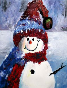 Snowman Paintings On Canvas | Happy snowman