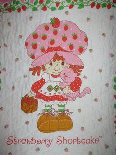 SWEET vintage Strawberry Shortcake quilt wall by oakiesclaptrap, etsy.com