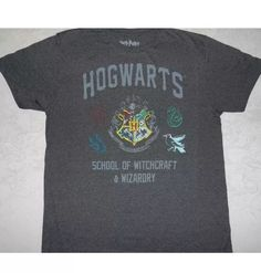 Harry Potter Hogwarts School Of Witchcraft & Wizardry Crest T-Shirt Adult M EUC  | eBay