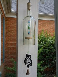 Owl wine bottle wind chime by GreenGoddessGlass on Etsy