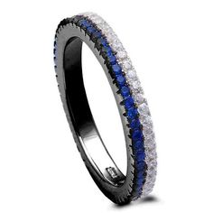 Full Eternity Thin Blue Line Band For Ring Double Row Stackable Band Round Deep Blue Sapphire Clear CZ Black Gold 925 Sterling Silver - Blue Apple Jewelry Black Diamond Engagement, Silver Engagement Rings, Ring Engagement, Granada, Sterling Silver Jewelry, Silver Rings, Silver Necklaces, Blue Wedding Rings, Wedding Bands