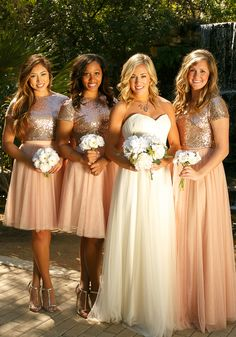 Mix and match sparkle crop top bridesmaid dresses from @shoprevelry