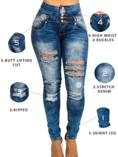 Burvogue Womens Blue Denim Stretch Jeans Skinny Distressed Pants