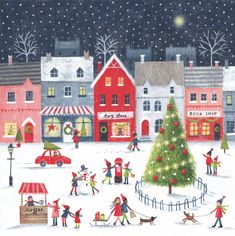 Cozy little winter town, snowflakes falling, children ice-skating - in love with painting Christmas illustrations! Christmas Town, Christmas Scenes, Merry Little Christmas, Christmas Pictures, Christmas Art, Winter Christmas, Vintage Christmas, Christmas Decorations, Illustration Noel