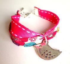 Liberty of London Fushia Fabric Children Wrap Bracelet with Little Bird Charm - Oh so French. $15.00, via Etsy.