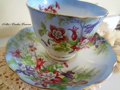 Royal Albert Columbine Vintage Fine Bone Teacup & Saucer Set