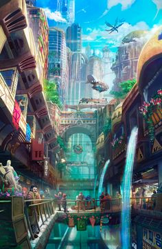 The digital paintings of fantasy environments by Tyler E .- Les digital paintings d'environnements de fantasy de Tyler Edlin Fantasy Art Landscapes, Fantasy Landscape, Fantasy Artwork, Landscape Art, Fantasy Paintings, Digital Art Fantasy, Fantasy Concept Art, Fantasy City, Fantasy Places