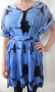 Blue Twilight Itajime Shibori Hand-Dyed Tight Twisted Seersucker Silk Dress by DianneKoppischHricko on Etsy