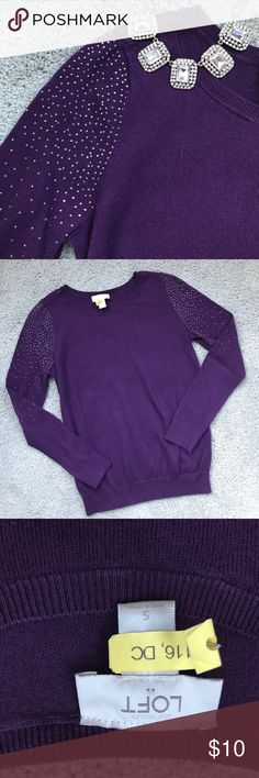 LOFT Purple Sweater Beautiful deep purple sweater features rhinestone embellishments on both sleeves. Still has the dry cleaning tag on it! EUC. Material is cotton and rayon. LOFT Sweaters Crew & Scoop Necks