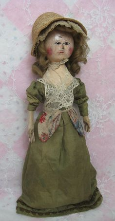 Fabulous and Fine George III Wooden Doll from dollsandlace on Ruby Lane