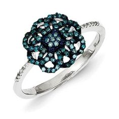 Sterling Silver 1/4 Carat Blue White Diamond Ring Available Exclusively at Gemologica.com