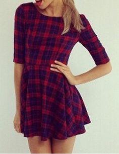 Trendy Style Scoop Neck Checked Print Half Sleeve Dress For Women Print Dresses | RoseGal.com Mobile