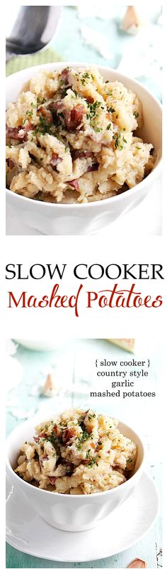 These Slow Cooker Mashed Potatoes are so good, you can serve them plain—no butter or gravy is needed! Place all ingredients in the slow cooker and walk away!