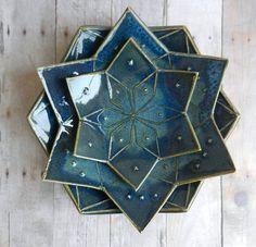 Ceramic bowl set, mandala 3 dish pottery flower of life dish clay small bowl…