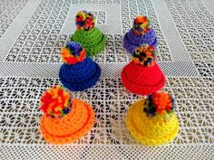 Rainbow egg cosy, miniature hat with rainbow pompom, knit eggs warmer, egg cover cups crochet, Christmas tree beanie hanging ornaments Handmade Christmas, Christmas Gifts, Hand Crochet, Crochet Hats, Small Gifts, Cosy, Crochet Earrings, My Etsy Shop, Miniatures