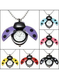 Ladybug Necklace Chain Pocket Watch
