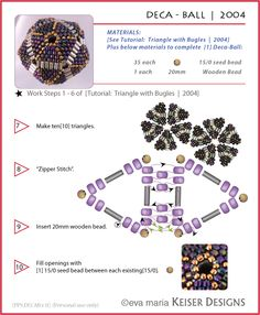 Deca ball (triangles with bugle beads) - one of many nice tutes/schema for triangles. #seed #bead #tutorial