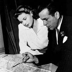 "fuckyeahbogart: "" Humphrey Bogart and Ingrid Bergman on the set of Casablanca (1942). """