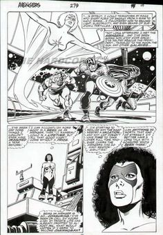 JOHN BUSCEMA - AVENGERS #279 ORIGINAL ART PAGE - HALF SPLASH with CAPTAIN AMERICA 1987 Comic Art