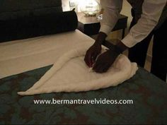 http://www.bermantravelvideos.com - Creative Bed Fowl- How to fold a towel swan and heart. Towel art as demonstrated by Ian at the Iberostar Grand Hotel Montego Bay Jamaica
