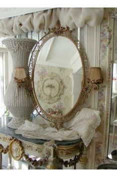 French Circa 1900's Ornamental Tole Mirror with Ribbons and Roses