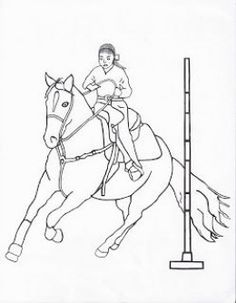 Jumping horse coloring page pony camp craft ideas for Coloring pages of horses barrel racing