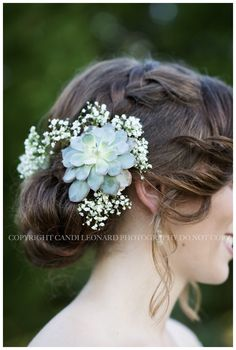Wedding hair succulent and babies breath in hair! Candi Leonard Photography Is Landscape Fabric Even Wedding Hair Flowers, Wedding Hair And Makeup, Flowers In Hair, Bridal Hair, Wedding Bouquets, Flower Bouquets, Wedding Dresses, Babys Breath Hair, Babies Breath