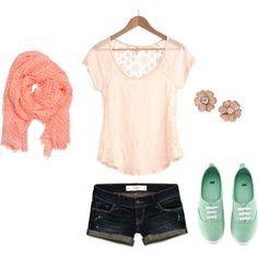 Sheer top, jean shorts, peach scarf, so summery