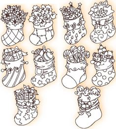 Advanced Embroidery Designs - Christmas Stocking Redwork Sets I  and II //  Encontrado en advanced-embroidery-designs.com