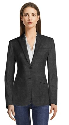 Can dressing for success lead to success? Recent studies, as noted by a recent Wall Street Journal article, suggest dressing up for work in a suit or blazer will improve employees overall productivity. Cropped Blazer, Casual Blazer, Navy Blue Blazer, Blue Plaid, Blue Wool, Party Jackets, Custom Made Clothing, Business Casual Dresses, Business Attire