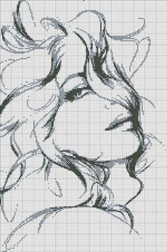point de croix monochrome visage de femme - cross-stitch woman's face