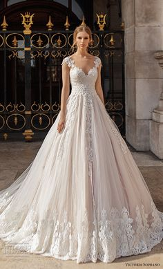 victoria soprano 2019 bridal cap sleeves v neck heavily embellished bodice romantic princess a  line wedding dress sheer button back chapel train (11) mv  -- Victoria Soprano 2019 Wedding Dresses | Wedding Inspirasi #wedding #weddings #bridal #weddingdress #bride ~