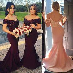 Burgundy Off Shoulder Sequin Most Popular New Arrival Cheap Long Bridesmaid Dresses , PD0245