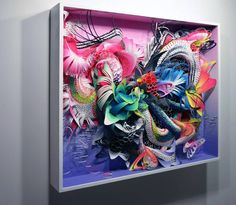 Colorful 3D Paper Sculptures. American artist Crystal Wagner makes awesome colorful paper sculptures in different frames. She created real imaginary univers with impressive precision and detail attention. She invites us to look and travel across her abstract and imaginary world.