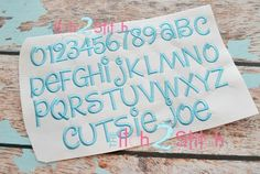 "I2S's Cutsie Joe Embroidery Font -- Size(s): 1"", 1.5"", 2.0"" & 2.5"" -- mixed case font with 26 letters; numbers included"