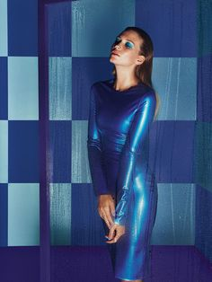 The Kim West metallic blue 'Katy' dress used in Dulux paint advert.