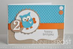 Stampin' Up owl punch. By Handmade by Jennifer Frost: Giggle and Hoot Bday Cards, Kids Birthday Cards, Birthday Cake, Stampin Up Karten, Stampin Up Cards, Owl Punch Cards, Owl Card, Cricut Cards, Marianne Design