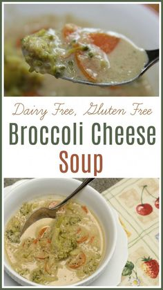Dairy free and gluten free broccoli cheese soup! Easy dinner for those with a dairy allergy or gluten intolerance. Veggie Recipes Healthy, Fresh Salad Recipes, Delicious Recipes, Amazing Recipes, Healthy Food, Seafood Soup Recipes, Dinner Recipes, Chili Recipes, Drink Recipes
