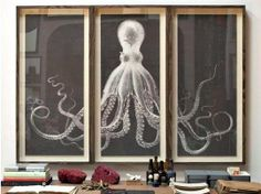 Buy or DIY: Large Framed Octopus Triptych | Apartment Therapy Octopus Artwork, Octopus Print, Shop Interior Design, Triptych, Diy Art, Living Room Decor, Modern Furniture, Focal Wall, Natural Curiosities