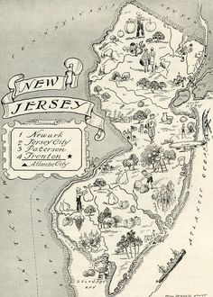 vintage nj map for chad