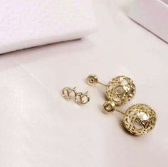 Authentic Christian DIOR 2016 Classic Secret Cannage Gold Pearl Stud Earrings