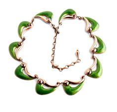 Vintage Matisse Copper Wave Necklace - Green Enamel Costume Jewelry / Modernist Collar