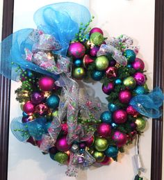 Christmas Wreath in Hot Pink Turquoise by SKWOriginalsbySummer