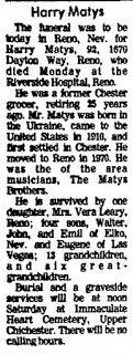 Genealogical Gems: Sunday's Obituary: Harry Matys