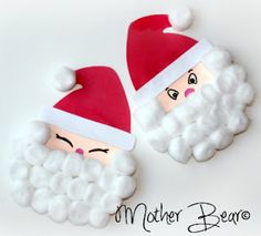 Mother Bear: Paper plate Santa Claus craft